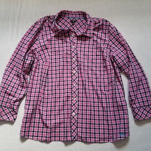 Talbots button down shirt plaid roll up sleeves 2X